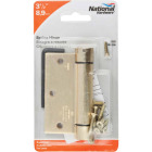 National 3-1/2 In. Square Satin Brass Spring Door Hinge Image 2