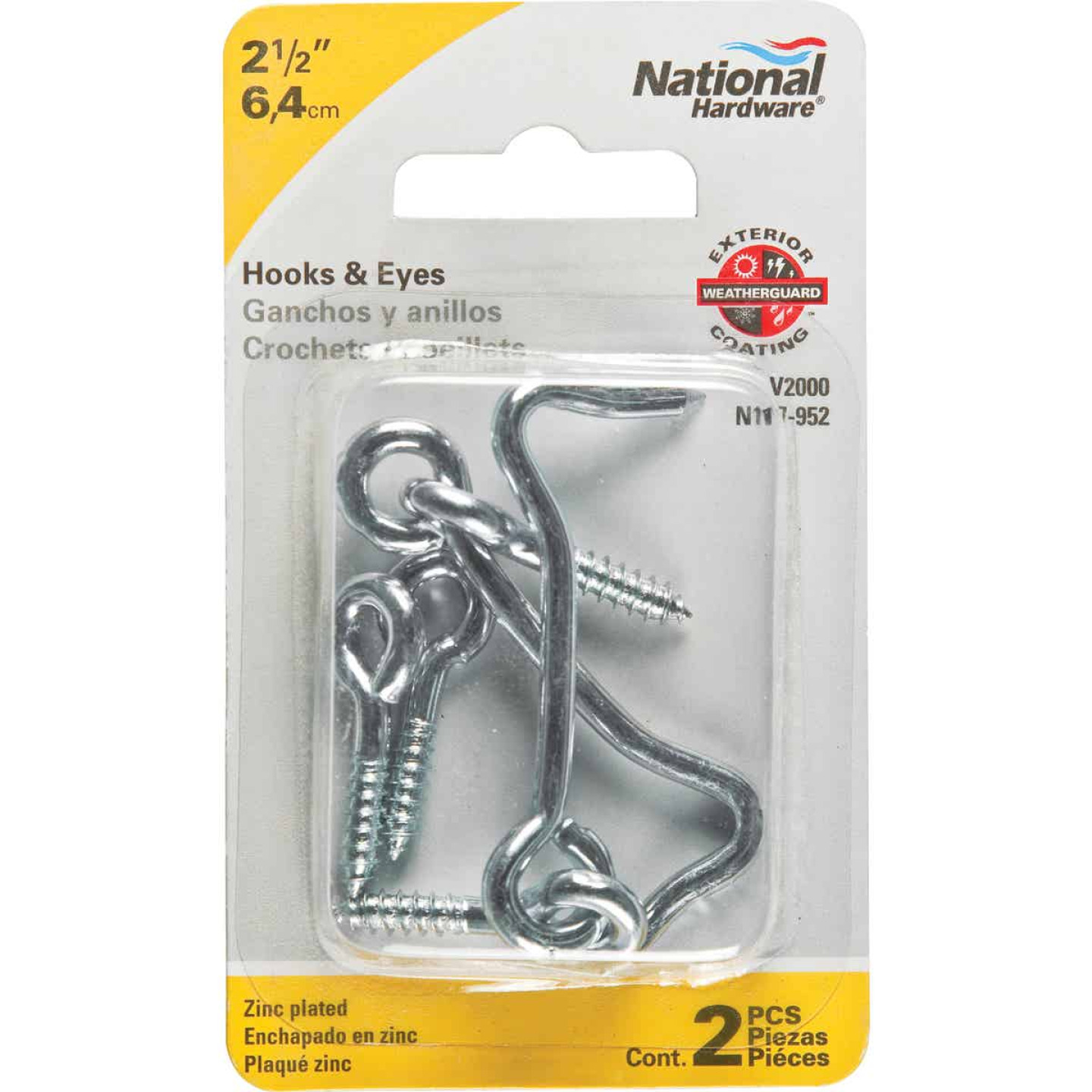 National 2-1/2 In. Steel Hook & Eye Bolt (2 Ct.) Image 2