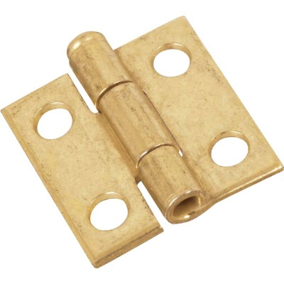 National 1 In. Brass Loose-Pin Narrow Hinge (2-Pack)