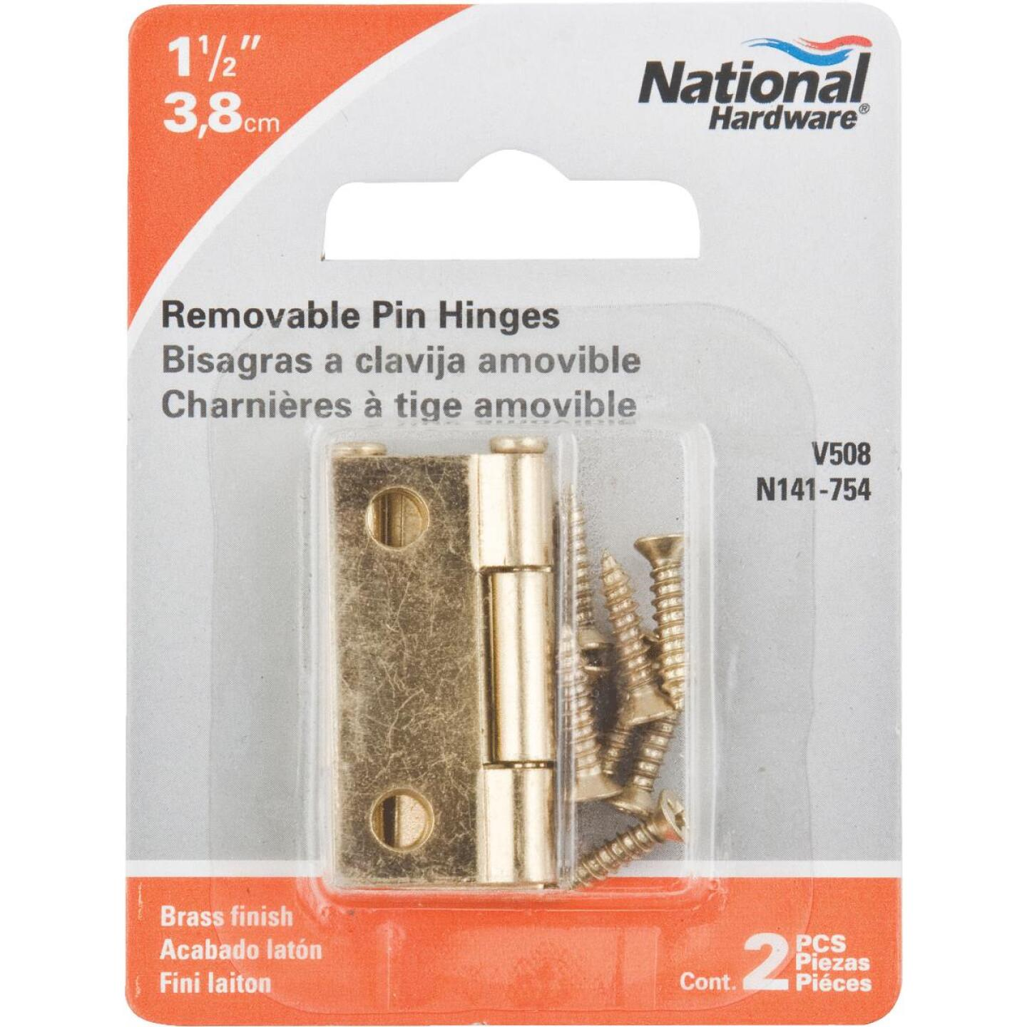 National 1-1/2 In. Brass Loose-Pin Narrow Hinge (2-Pack) Image 2