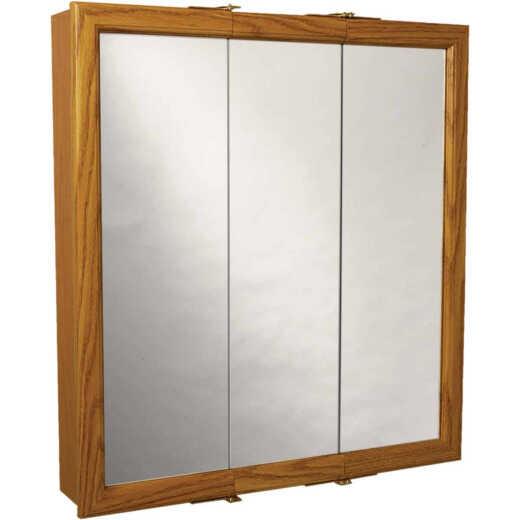 Zenith Zenna Home Oak 29.63 In. W. x 25.57 In. H. x 4.5 In. D. Tri-View Surface Mount Medicine Cabinet