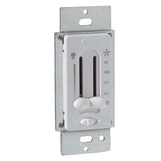 Hunter White 4-Speed/Full Range Dimmer Dual Slide Fan Control Switch