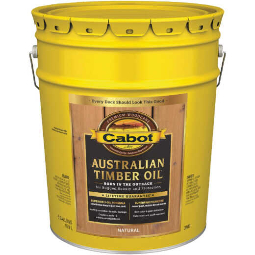Cabot Australian Timber Oil Translucent Exterior Oil Finish, Natural, 5 Gal.