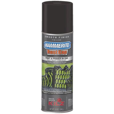 Hammerite Rust Cap Gloss Black 12 Oz. Anti-Rust Spray Paint